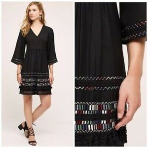 NWT Anthropologie Embroidered Boho Tassel Dress SP